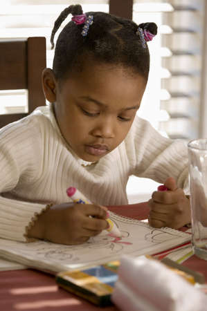 talented: Little girl coloring a picture at the table