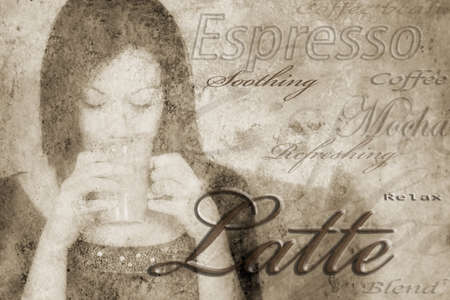 compilations: Coffee words around a woman drinking coffee