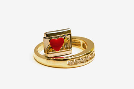 Gold ring and cufflink