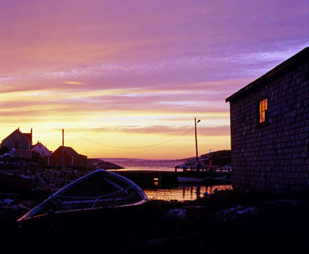 Nova Scotia: Sunset at Peggys Cove, Nova Scotia Stock Photo