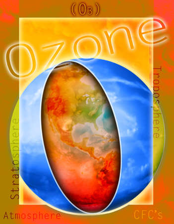 environmental awareness: Ozone illustration