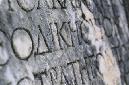Greece, Olympia, Ancient writing on stone