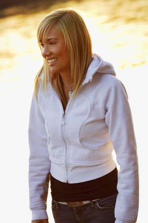 hooded top: Woman smiling