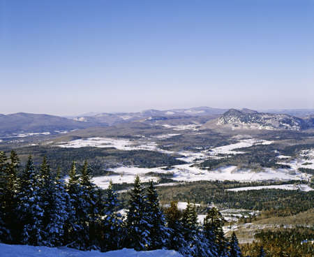 Hills in winter, eastern townships, Quebec, Canada photo