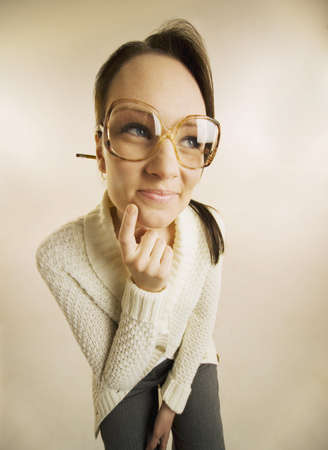 geeky: Wide-angle view of a woman wearing eyeglasses