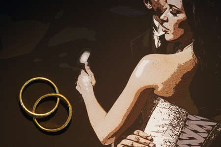 compilations: Illustration of bride and groom with wedding bands Stock Photo