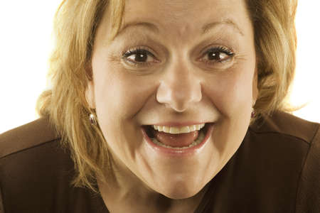 50 something: Woman making silly face