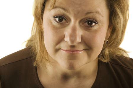 forty something: Woman looking puzzled Stock Photo