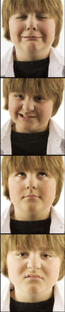 4 images of young boy with varying faces photo
