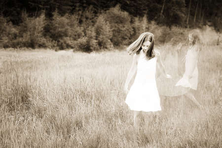 compilations: Girl playing in a field of grass