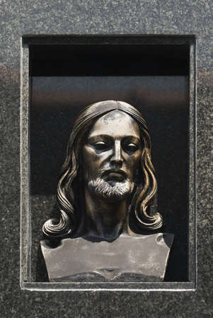 northern spain: Carved image of Christs head, Northern Spain