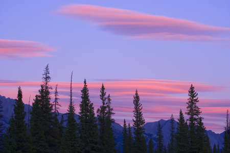 lenticular: Sunset and clouds, Banff National Park, Alberta, Canada Stock Photo