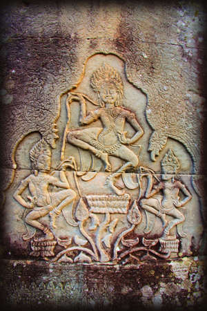 historical periods: Bas-reliefs of Hindu myths at Bayon Temple of Angkor Thom, Angkor, Cambodia