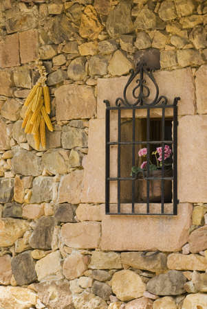 Stone wall with window, Cantabria, Northern Spain