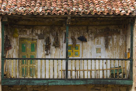 lintels: Derelict wooden balcony, Carmona, Cantabria, Northern Spain