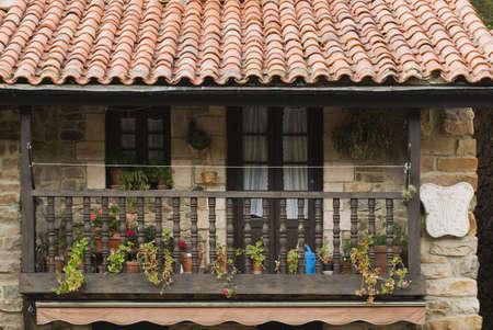 verandas: Wooden balcony on stone house in village of Barcena Mayor, Cantabria, Northern Spain