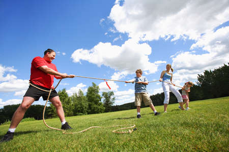 antagonistic: Tug of war between dad and kids