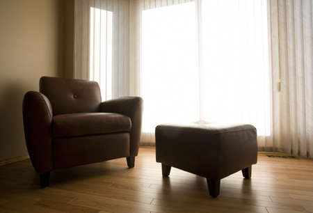 architectural interiors: Living room with armchair and ottoman