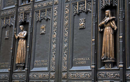 Detail of door at St. Patricks Cathedral, Midtown Manhattan, New York City, New York, USA Stock Photo