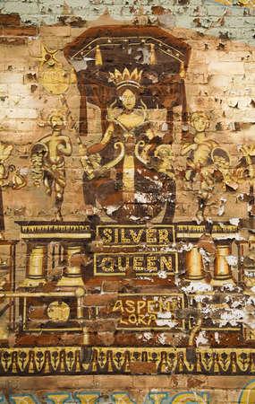 rocky mountains colorado: Old mural in Aspen, Rocky Mountains, Colorado, USA Stock Photo