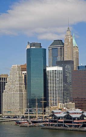 South Street Seaport Museum and Lower Manhattan Skyline, New York City, New York, USA   photo