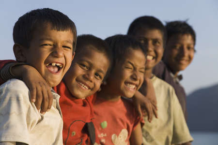 chuckle: A group of smiling children Stock Photo