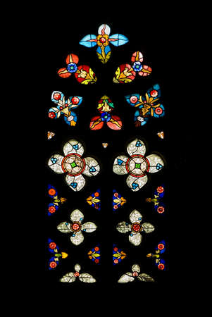 glasswork: Gothic Stained Glass Window in Spanish Church of San Severino, Balmaseda, The Basque Country, Spain   Stock Photo