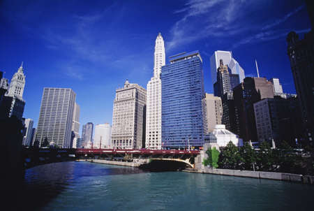 municipalities: Chicago river and downtown in Chicago, Illinois, USA