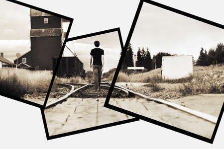 Man on railway tracks photo