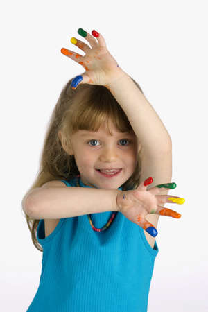 untidy: Girl with paint on her fingers