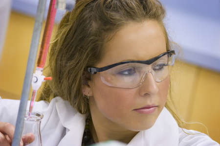 science lab: Girl in a science lab