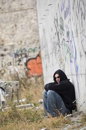 Man beside graffiti Stock Photo - 7207969
