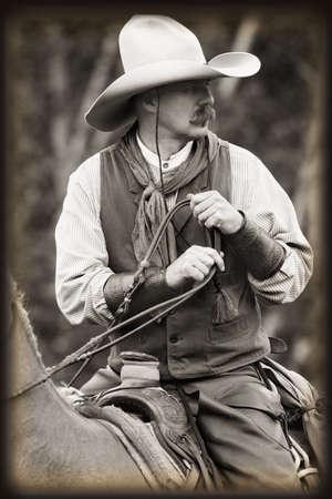 Cowboy on horseback Banque d'images