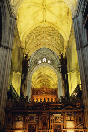 architectural interiors: Interior of Seville Cathedral, Andalusia, Spain