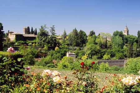 Gardens inside The Alhambra, Granada, Andalusia, Spain   Редакционное