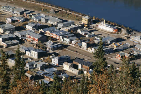 arial views: Historic Dawson City, Yukon
