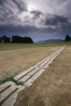 Starting line, the first Olympic Stadium, Olympia, Greece   Stock Photo - 7211134