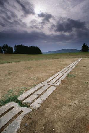 Startlijn, de eerste sportcompetitie Stadium, Olympia, Griekenland