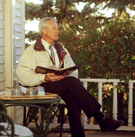 seventy something: Man looking away while having devotions