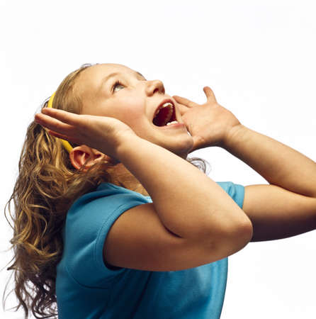 screaming head: A girl shouting