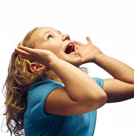 A girl shouting