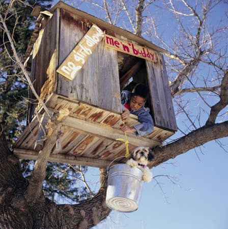 A boy and his dog in a tree fort
