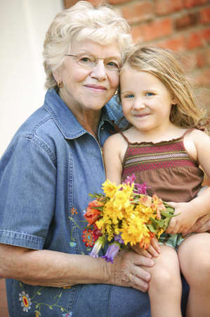 seventy something: Grandmother and granddaughter