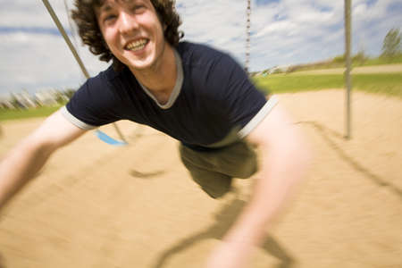 silliness: Teenage boy at the playground