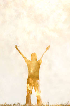victorious: Artistic rendition of person with arms raised