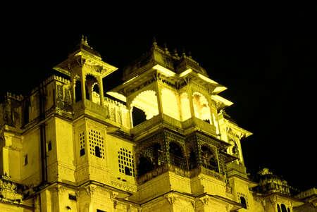 City Palace at Night, Udaipur, Rajasthan, India Stock Photo