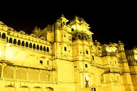 City Palace at night, Udaipur, Rajasthan, India