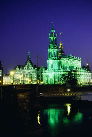 View of the Hofkirche and the Elbe River at night, Dresden, Saxony, Germany Stock Photo - 7209230