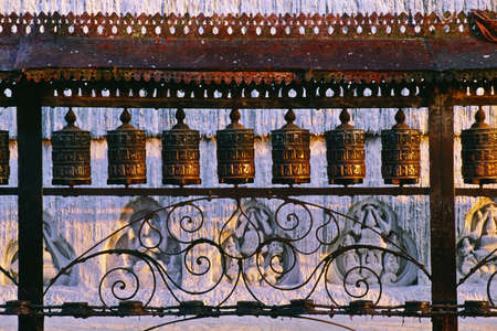 architectural tradition: Buddhist prayer wheels, Swayambhunath Temple, Nepal