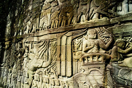 belief system: Detail of stone carvings, The Bayon, Angkor Thom, Cambodia Stock Photo